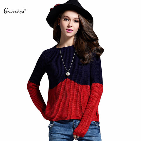 Gamiss 2016 Women Autumn Slim Sweater Winter Women Jumpers Trendy Long Sleeve Color Block Black Patchwork Knitted Sweater Ladies - Vietees Shop Online