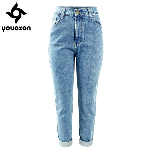 1886 Youaxon Women`s Plus Size High Waist Washed Light Blue True Denim Pants Boyfriend Jean Femme For Women Jeans - Vietees Shop Online