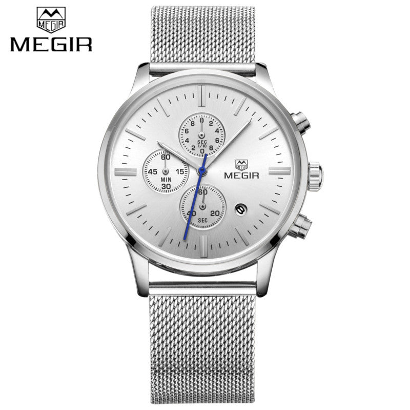Watches Men MEGIR Brand Chronograph Fashion Simple Men Watches Stainless Steel Mesh Band Quartz-Watch Thin Dial Man Casual Clock - Vietees Shop Online