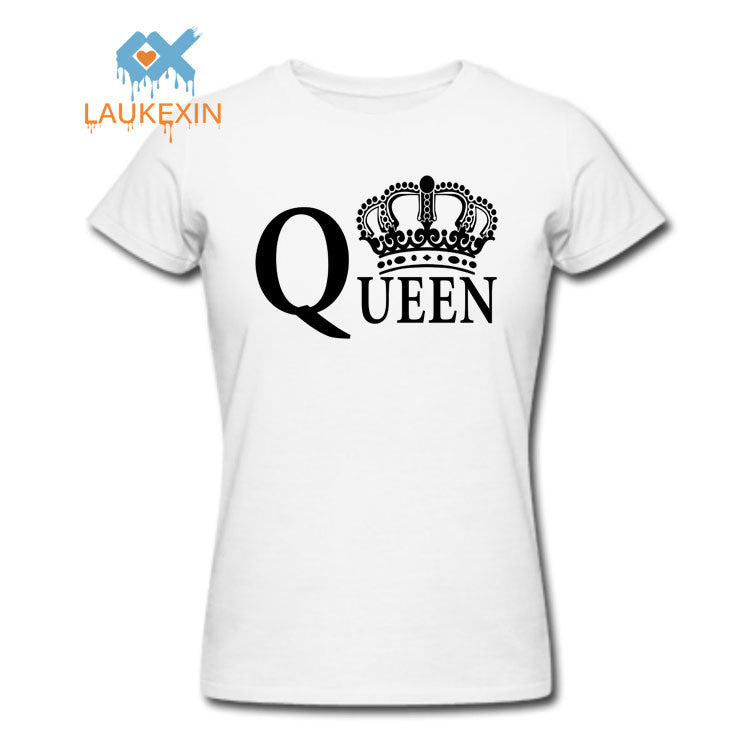 New Family King Queen Letter Print t Shirt,2016 Camisetas King Queen Couple Matching Valentine Summer Fashion Cotton tshirt tops - Vietees Shop Online