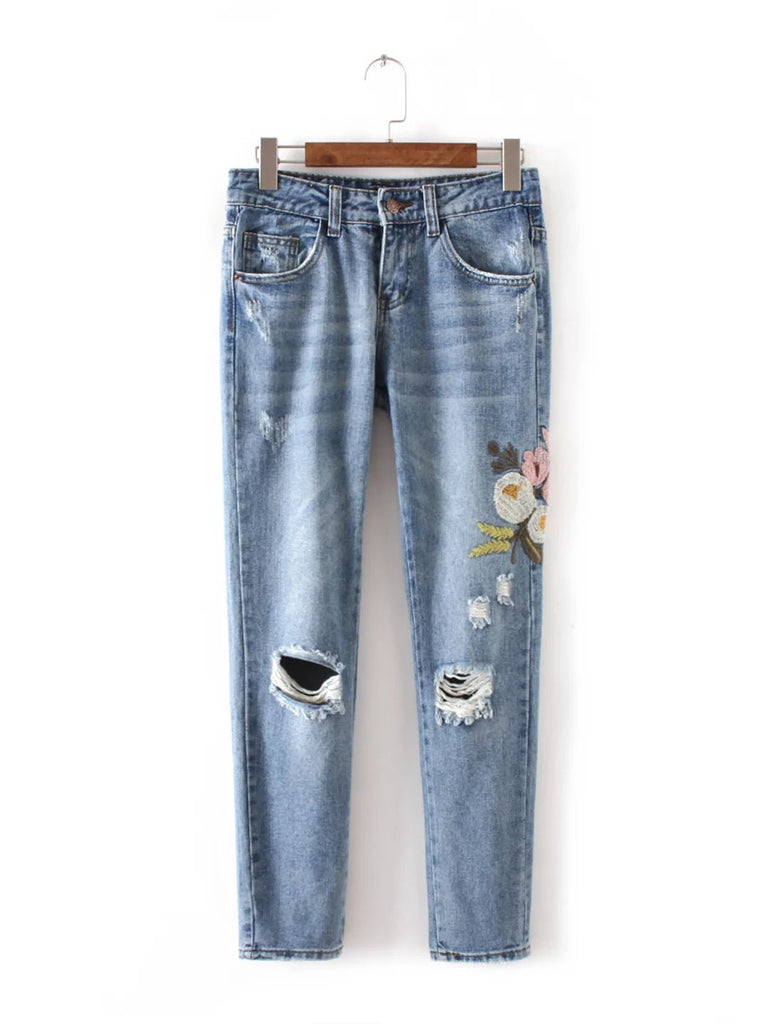 XC55-618 Europe and the United States fashion wind flowers embroidered jeans - Vietees Shop Online