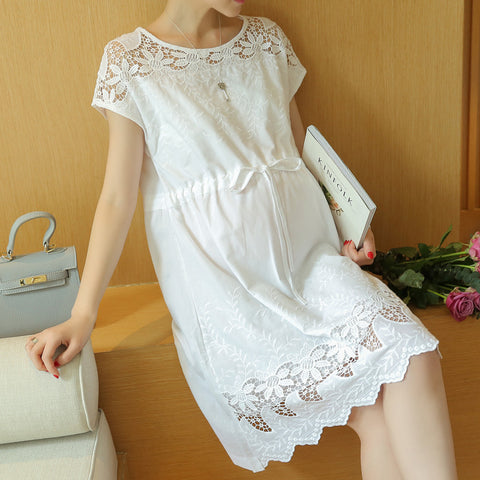 Maternity Clothes Fashion Summer New Arrival Hollow Lace White Dress for Pregnant Pregnancy - Vietees Shop Online
