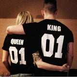 Valentine Shirts Woman Cotton King Queen 01 Funny Letter Print Couples Leisure T-shirt Man Tshirt Short Sleeve O Neck T-shirt 0 - Vietees Shop Online