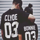 Summer Style Valentine Shirts Woman Cotton Bonnie/CLYDE 03 Funny Letter Print Couples Leisure Man Tshirt Short Sleeve tee shirt - Vietees Shop Online