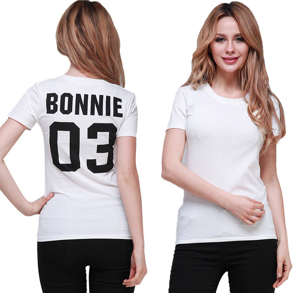 86c02cd8c2 Summer Style Valentine Shirts Woman Cotton Bonnie/CLYDE 03 Funny Letter  Print Couples Leisure Man Tshirt Short Sleeve tee shirt