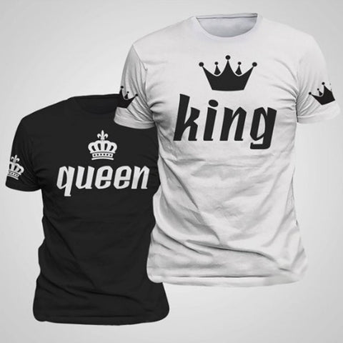 BKLD Valentine Shirts Woman Cotton King Queen Funny Letter Print Couples Leisure T-shirt Man Tshirt Short Sleeve O neck T-shirt - Vietees Shop Online - 1