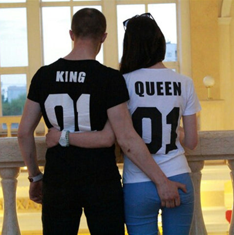Valentine Shirts Woman Cotton King Queen 01 Funny Letter Print Couples Leisure T-shirt Man Tshirt Short Sleeve O neck T-shirt - Vietees Shop Online