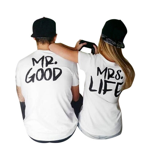 harajuku Valentine Shirts Woman Cotton MrGood &MrsLife Letter Print Couples Leisure T-shirt Man Tshirt Short Sleeve O neck - Vietees Shop Online