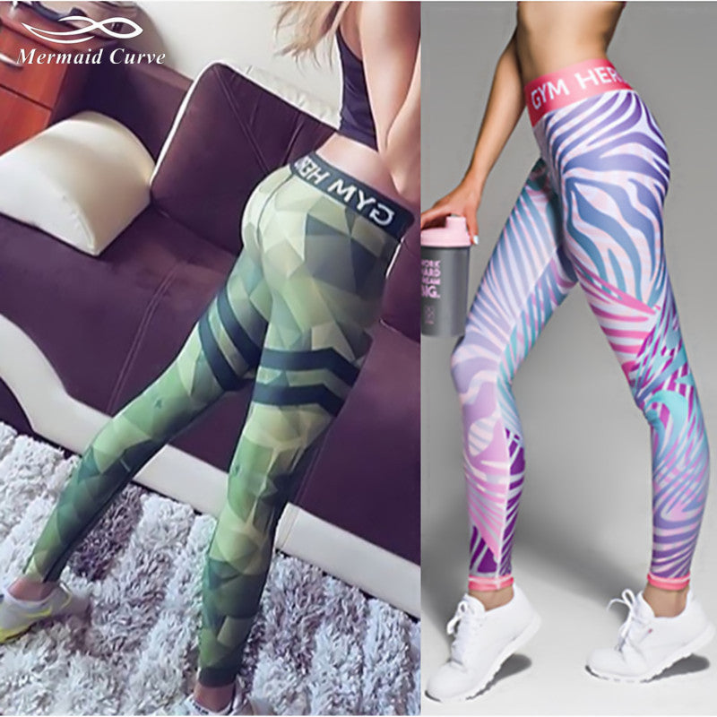 63584bbaf906 Mermaid Curve Fitness leggings Women Workout gym Hero Print Yoga Pants  stripe camouflage sports Leggings Fitness ...
