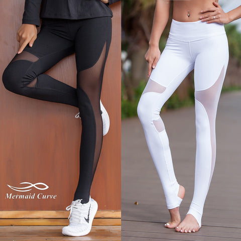 Mermaid Curve Women Sport Fitness Leggings Elastic Gym Capris hollow out Tight Leggings Coast the same style Yoga pants - Vietees Shop Online