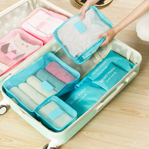 New Nylon Packing Cube Travel Bags Zipper Waterproof 6 Pieces One Set Big Capacity Of Bags - Vietees Shop Online