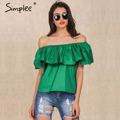 Simplee Apparel Sexy slash neck ruffles women tops tees Off shoulder beach summer style tops Women blouses shirt party tube top - Vietees Shop Online