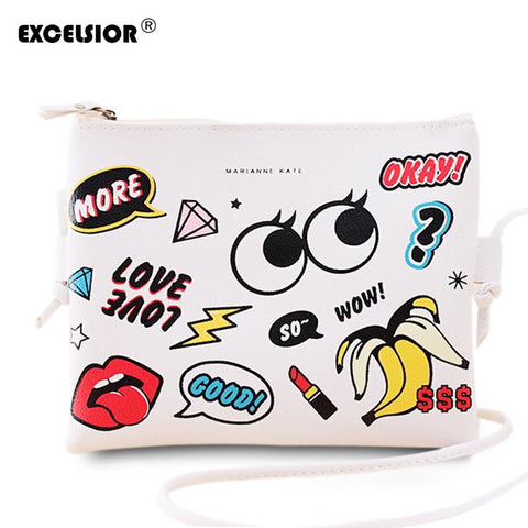 Fashion Cartoon Printed Women Graffiti Handbag Mini Crossbody Shoulder Bag Handbag - Vietees Shop Online