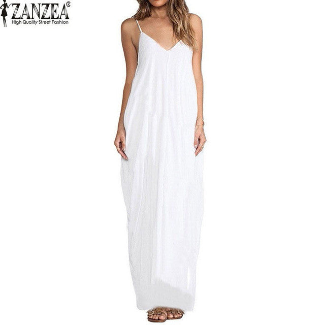 3 Colors Sundress Beach Vestidos 2017 Summer Women Dress Boho Strapless Sexy V-neck Sleeveless Baggy Long Maxi Dresses Plus Size - Vietees Shop Online