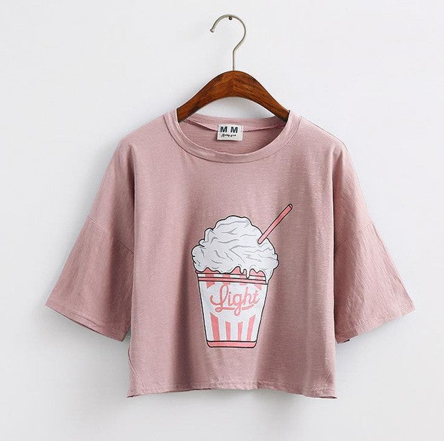 Merry Pretty 2017 summer new Harajuku women t shirt ice cream Korean style cotton loose crop tops kawaii t-shirt women tee tops - Vietees Shop Online