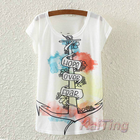 KaiTingu 2017 New Fashion Vintage Spring Summer T Shirt Women Clothing Tops Animal Owl Print T-shirt Printed White Woman Clothes - Vietees Shop Online