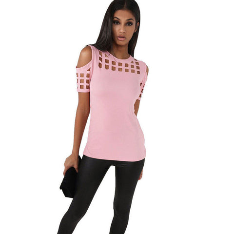 VITIANA Womens Short Sleeve T-shirt Ladies Fashion Red Pink Black Hollow Out Slim Spring Summer Casual Hot Tees Tops - Vietees Shop Online