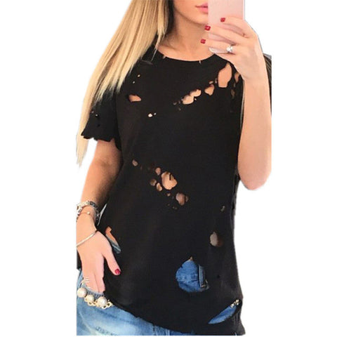 2017 Summer Holes T Shirt Women Fashion Sexy Black White Cotton Short Sleeve Ripped Tops Shirts Casual Loose T-Shirt XS-L - Vietees Shop Online