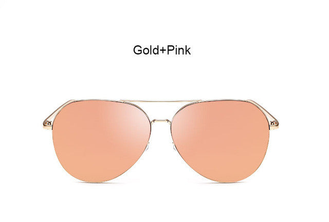 New Fashion Flat Lens Mirror aviation Sunglasses Women Stylish Sun Glasses Lady Men Metal Frame Eyewear High Quality - Vietees Shop Online