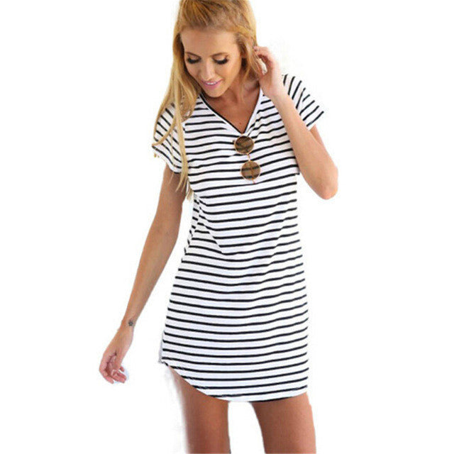 New Arrive Female Sundress Black White Striped O Neck Mini Dress Woman Summer Brief Dress Plus Size Women Clothes Robe Sexy S200 - Vietees Shop Online