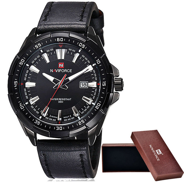 Brand Men's Fashion Casual Sport Watches Men Waterproof Leather Quartz Watch Man military Clock - Vietees Shop Online