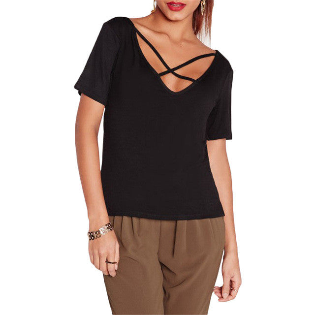 SheIn Fashion Tops 2016 Women Summer New Arrival Black Sexy Crisscross Front V Back Short Sleeve Casual T-shirt - Vietees Shop Online