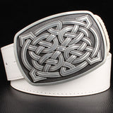 Fashion leather belt Celtic knot series metal buckle  geometric weave pattern men simple casual belts trend women jeans belt - Vietees Shop Online