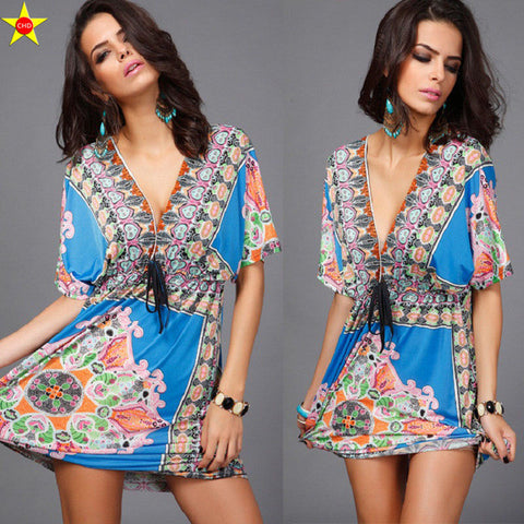 Boho Style Summer Women Dress Sexy Sundresses Deep V Ethnic Floral Print Tunic Beach Dresses Plus Size Casual Silk Dresses - Vietees Shop Online