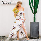 Simplee Boho style long dress women Off shoulder beach summer dress new year Vintage chifon white maxi dress vestidos de festa - Vietees Shop Online