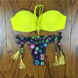 2017 Summer Style Floral Print Women Bikinis Set Crochet Lace Swimsuit Strapless Push Up Bandeau Biquinis Beachwear Bathing Suit - Vietees Shop Online