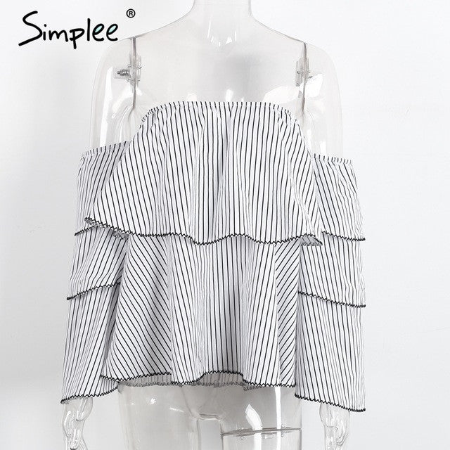 Simplee Off shoulder stripe women blouses Summer elegant butterfly sleeve blouse shirt 2017 Causal ruffle cool blouse blusas - Vietees Shop Online