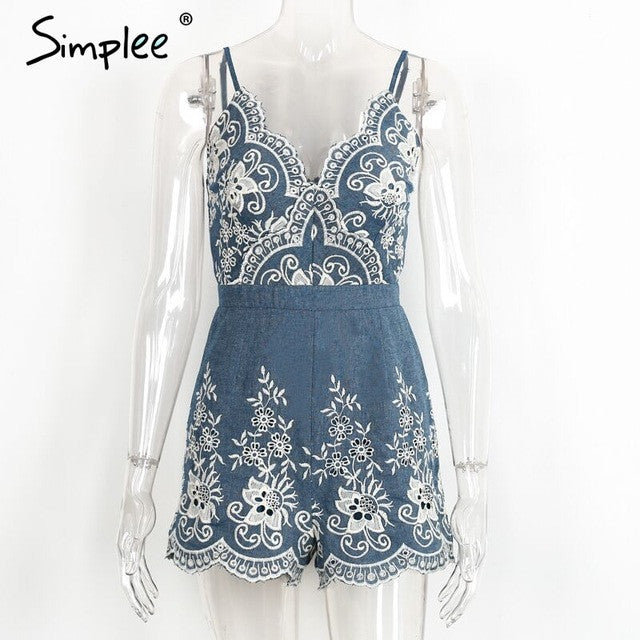 Simplee Embroidery v neck summer jumpsuit romper Strap elegant jumpsuit women floral playsuit 2017 sexy zipper short overalls - Vietees Shop Online
