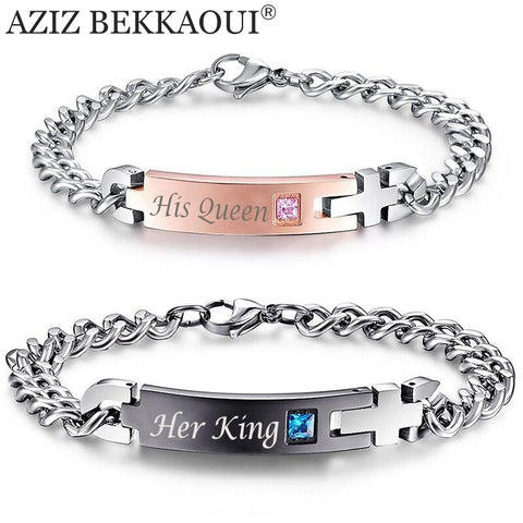 "Drop Shipping Unique Gift for Lover ""His Queen""""Her King "" Couple Bracelets Stainless Steel Bracelets For Women Men Jewelry - Vietees Shop Online"