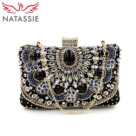 NATASSIE Women Clutch Ladies Diamond Day Clutches Purses Female Beaded Bag With Chain - Vietees Shop Online