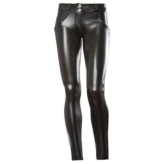 e85673ae2a48a7 Women Sexy Push Up Leather Leggings Elastic Sports Pants Fitness Yoga Pants  Running Tights Waterproof Sportswear Sport Clothing