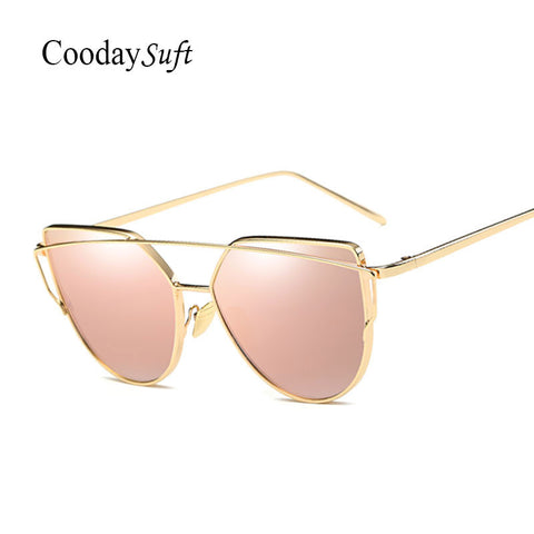 Coodaysuft  Women Sunglasses New Cat eye Brand Design Mirror Flat Rose Gold Vintage Cateye Fashion sun glasses lady Eyewear - Vietees Shop Online