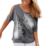 2017 Fashion Women Summer Off Shoulder Top Loose Plus Size Women Tops Feather Print Ladies Blouse Femme - Vietees Shop Online