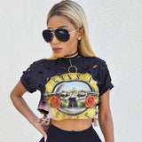 Sexy Hole Crop Top 2016 Print GUNS N ROSES T Shirt Women Top Tees Shirt Femme Short Sleeve T-Shirt Female Fashion Summer Tops - Vietees Shop Online