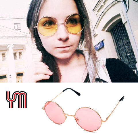 Uinsex MultiColor Round Sunglasses Golden Frame Glasses Shades Hippie Lennon Ozzy Vintage Steampunk Gradient Mirror Lens 030-263 - Vietees Shop Online