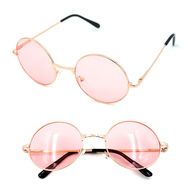 30544a2d97 Uinsex MultiColor Round Sunglasses Golden Frame Glasses Shades Hippie  Lennon Ozzy Vintage Steampunk Gradient Mirror Lens 030-263