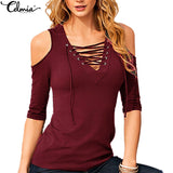 Women Sexy Off Shoulder Blouse Fashion Lace Up V neck Half Sleeve Slim Fit Shirts Plus Size Lady Casual Summer Tops Blusas - Vietees Shop Online