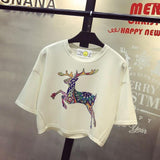 Sexy 2017 Spring  Summer New Leisure Cotton T Shirt Batwing Sleeve Fashion Deer  Animal Print Women Tops Tshirt White Black - Vietees Shop Online