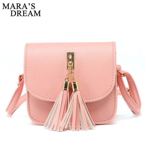Women Candy Color Tassel Messenger Bags Female Handbag Shoulder Bag - Vietees Shop Online