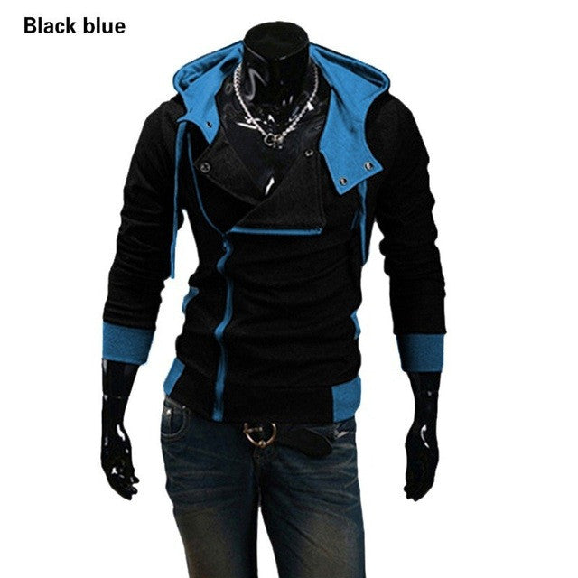 2017 New Autumn & Winter Oblique Zipper Casual Slim Long Sleeve Hiphop Assassin Creed Hoodies Sweatshirt Outerwear Jackets - Vietees Shop Online
