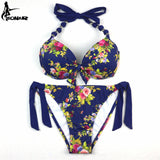EONAR Bikinis Women 2017 Print Floral Swimsuits Brazilian Push Up Bikini Set Retro Bathing Suits Plus Size Swimwear Female XXL - Vietees Shop Online