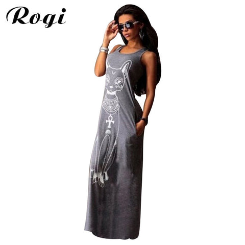 Rogi Cat Print Long Maxi Dress Summer Boho Beach Bodycon Dresses Vintage Sundresses Evening Party Dress Vestidos Mujer Plus Size - Vietees Shop Online