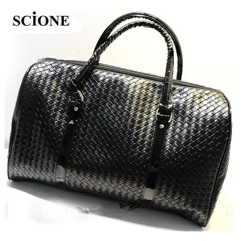 Knitting Pattern black leather large travel bag Men women luggage travel bags - Vietees Shop Online