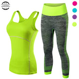 2017 YEL Hot Ladies 2 Pcs Sport Running Cropped Top 3/4 Leggings Set Gym Yoga Pants - Vietees Shop Online