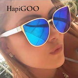 HapiGOO 2017 New Oversize Cat Eye Sunglasses Women Fashion Summer Style Big Size Frame Mirror Sun Glasses Female Oculos UV400 - Vietees Shop Online