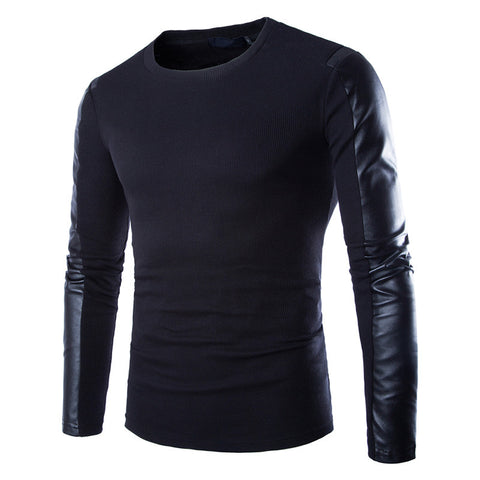 ens leather sweatshirt Black Long Sleeve PU Spell Leather Round Collar Wear Fitness Compression Shirt Men Pullover Clothing - Vietees Shop Online